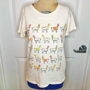 NWOT J. Crew Llama Short Sleeve Collection Tee B38